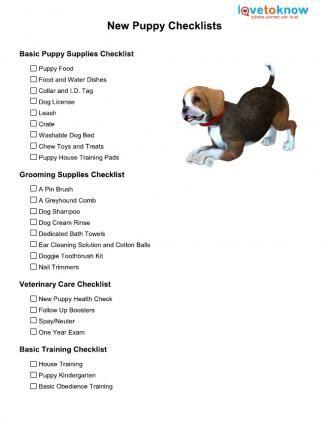 Nuova lista di controllo per i cuccioli